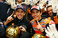 MARQUEZ Marc of Spain and Repsol Honda Team celebrates winning the championship with his brother Alex, world champion in Moto 3, during the Moto GP Valencia Grand Prix at Ricardo Tormo circuit, Cheste in Spain on november 09, 2014 - Photo Milagro / DPPI