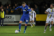 AFC Wimbledon striker Joe Pigott (39) dribbling during the EFL Sky Bet League 1 match between AFC Wimbledon and Burton Albion at the Cherry Red Records Stadium, Kingston, England on 28 January 2020.