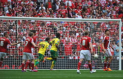 Cameron Jerome fires in Norwich First Goal, Middlesbrough v Norwich, Sky Bet Championship, Play Off Final, Wembley Stadium, Monday  25th May 2015