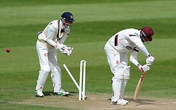Somerset's Marcus Trescothic is bowled by Middlesex's Ollie Rayner for 78. - Photo mandatory by-line: Harry Trump/JMP - Mobile: 07966 386802 - 28/04/15 - SPORT - CRICKET - LVCC Division One - County Championship - Somerset v Middlesex - Day 3 - The County Ground, Taunton, England.