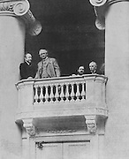 Allied ambassadors, left-right, Marquis Carlotti of Italy, David Francis of America, Albert Thomas of France and Sir George Buchanan of Great Britain at the Fourth Duma, 10th May 1917, in Petrograd, later St Petersburg, during the Russian Revolution, photograph published on the front page of L'Illustration no.3874, 2nd June 1917. Picture by Manuel Cohen