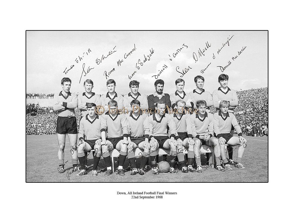 Down, All Ireland football winners. 23rd September 1968, 23/09/1968
