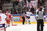 2020-02-12 | Ljungby, Sweden: Huddinge players celebrating after a goal during the game between IF Troja / Ljungby and Huddinge IK at Ljungby Arena ( Photo by: Fredrik Sten | Swe Press Photo )<br /> <br /> Keywords: Ljungby, Icehockey, HockeyEttan, Ljungby Arena, IF Troja / Ljungby, Huddinge IK, fsth200212, ATG HockeyEttan, Allettan
