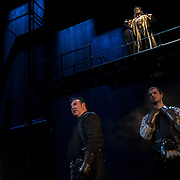 March 24, 2016 - New York, NY : At bottom, from left, Sean Chapman (as Northumberland) and Matthew Needham (as Percy) perform during a photo call/dress rehearsal for The Royal Shakespeare Company's (RSC) Richard II at the Brooklyn Academy of Music's (BAM) Harvey Theater in Brooklyn on Thursday afternoon. On the bridge above them are, from left, Sam Marks (as Aumerle) and David Tennant (as Richard II). The production, which is being directed by RSC Artistic Director Gregory Doran as part of Shakespeare's Great Cycle of Kings, marks the 400th anniversary of William Shakespeare's death.  CREDIT: Karsten Moran for The New York Times