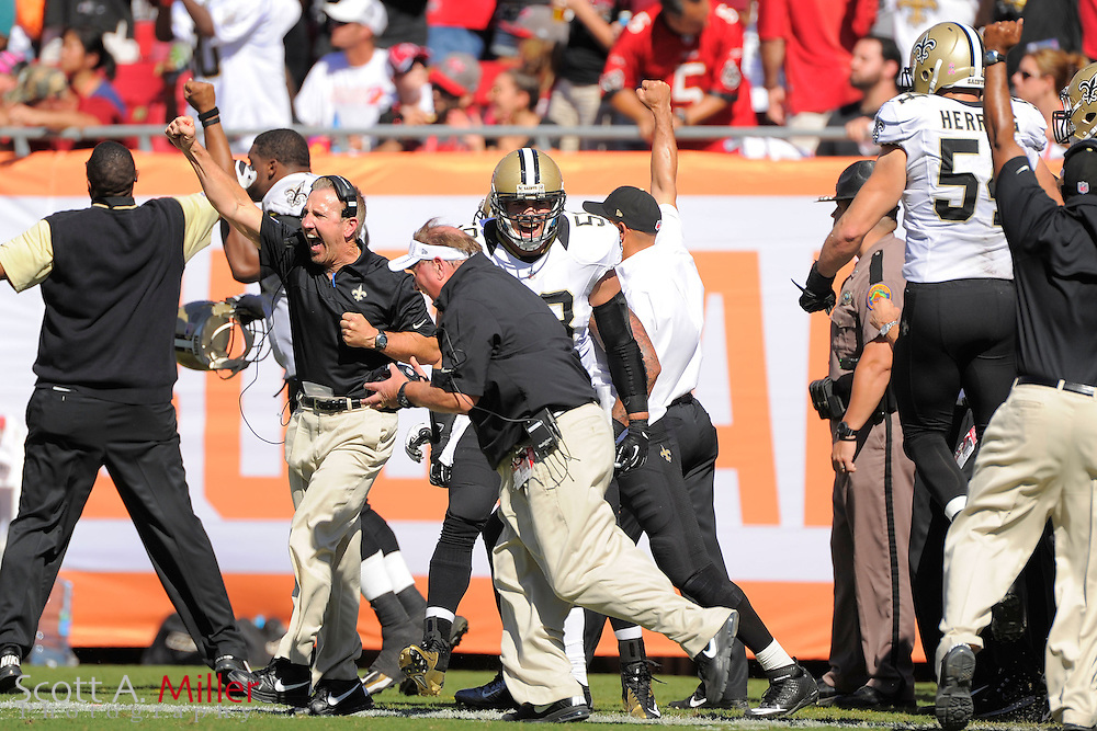 The New Orleans Saints bench celebrates as the Saints defense stops the Tampa Bay Buccaneers at the 1-yard line during the Saints 35-28 win at Raymond James Stadium  on Oct. 21, 2012 in Tampa, Florida. ...(AP Photo/Scott A. Miller)...