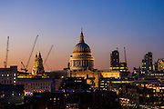 St Paul's Cathedral at dusk from the Tate Modern