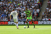 Forest Green Rovers Ethan Pinnock(16) on the ball during the Vanarama National League Play Off Final match between Tranmere Rovers and Forest Green Rovers at Wembley Stadium, London, England on 14 May 2017. Photo by Shane Healey.