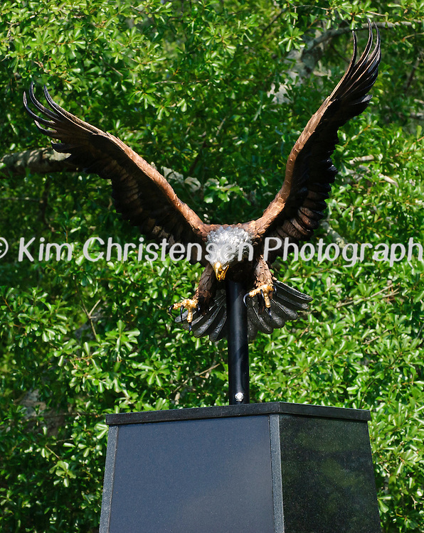 The eagle is perched atop one of the columns at new Friendswood Veterans Memorial that was dedicated today.