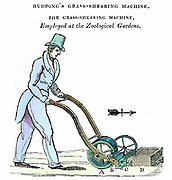 Lawn mower (shearing machine) invented by Mr Budding and manufactured by Ransome's of Ipswich. Used in gardens of Zoological Society, London c1832. Coloured engraving