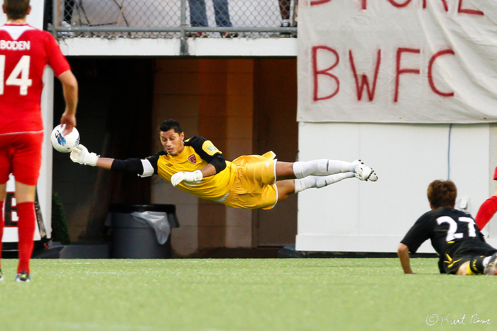 Orlando City goalkeeper Miguel Gallardo (1) saves a goal attempt at the Citrus Bowl in Orlando, FL on July 17, 2011. Bolton Wanderers defeated  Orlando City 3-1. (Kurt Rivers/KnightNews.com)..
