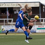 Farmington's Julia Scott battles for the ball in the air - Forfar Farmington v Edinburgh University Hutchison Vale in SWPL2 at Station Park Forfar - picture by David Young<br /> <br />  - &copy; David Young - www.davidyoungphoto.co.uk - email: davidyoungphoto@gmail.com