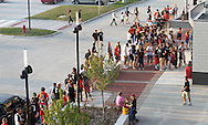 Fans wait in line for tickets before the start of the game between Cedar Rapids Kennedy and Linn-Mar at Linn-Mar Stadium in Marion on Friday evening, September 2, 2011.