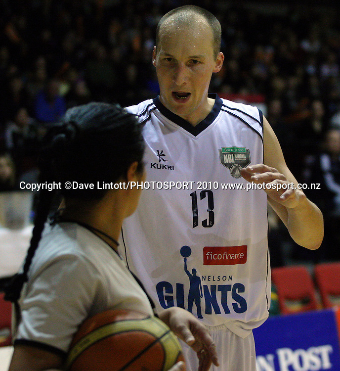 Giants guard Phill Jones questions umpire Yalla Edwards.<br /> NBL - Wellington Saints v Nelson Giants at TSB Bank Arena, Wellington. Friday, 21 May 2010. Photo: Dave Lintott/PHOTOSPORT