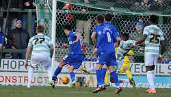 Gillingham's John Marquis scores his sides goal  - Photo mandatory by-line: Harry Trump/JMP - Mobile: 07966 386802 - 21/02/15 - SPORT - Football - Sky Bet League One - Yeovil Town v Gillingham - Huish Park, Yeovil, England.