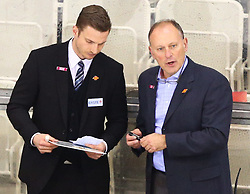 27.02.2015, Albert Schultz Eishalle, Wien, AUT, EBEL, UPC Vienna Capitals vs EC Red Bull Salzburg, 52. Runde, im Bild Phil Horsky (UPC Vienna Capitals) und Jim Boni (UPC Vienna Capitals) // during the Erste Bank Icehockey League 52nd  round match between UPC Vienna Capitals and EC Red Bull Salzburg at the Albert Schultz Ice Arena, Vienna, Austria on 2015/02/27. EXPA Pictures © 2015, PhotoCredit: EXPA/ Thomas Haumer