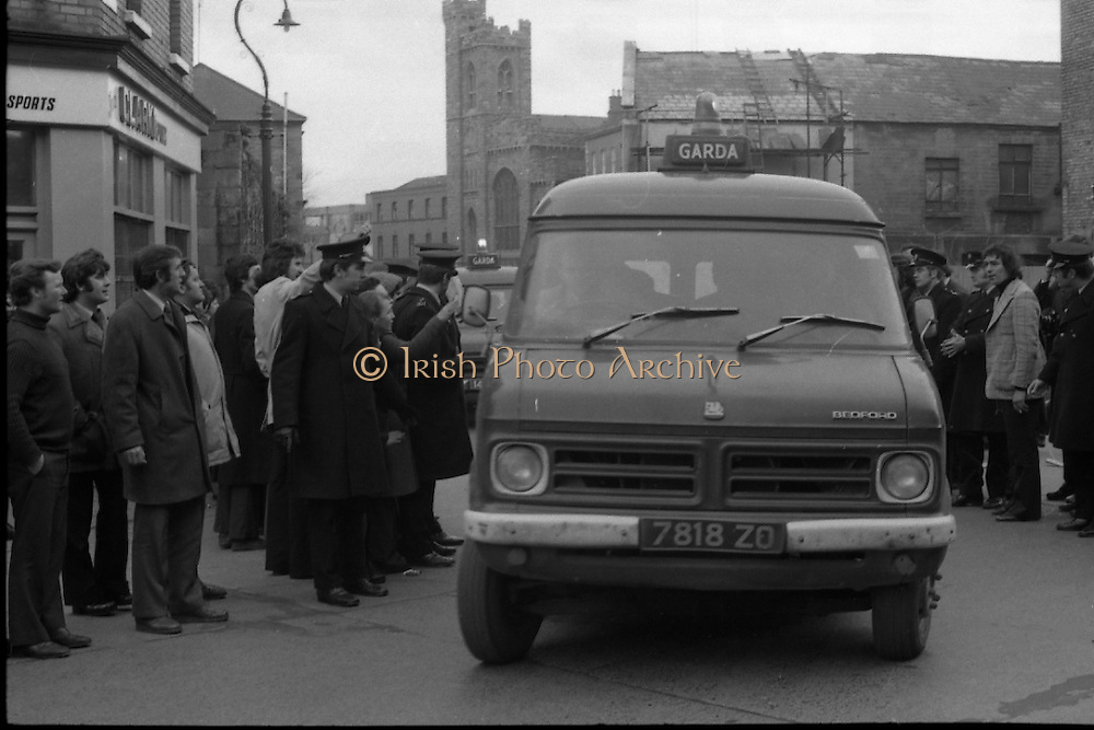 Dr Herrema Kidnap Trial Begins.    K9..1976..23.02.1976..02.23.1976..23rd February 1976..After a period of incarceration, the trial of Eddie Gallagher finally got under way at the Special Criminal Court, Green Street, Dublin. Gallagher was charged with the kidnap of the Dutch Industrialist, Dr Tiede Herrema. The kidnap ended with the release of Dr Herrema after a siege at Monasterevin, Co Kildare...Image of the van containing Eddie Gallagher as it arrives at the Special Criminal Court.