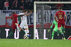 November 20, 2018 - Guimaraes, Guimaraes, Portugal - Arkadiusz Milik forward of Poland (R) suffers penalty done by Danilo Pereira defender of Portugal (L) during the UEFA Nations League football match between Portugal and Poland at the Dao Afonso Henriques stadium in Guimaraes on November 20, 2018. (Credit Image: © Dpi/NurPhoto via ZUMA Press)