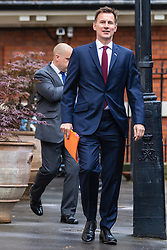 © Licensed to London News Pictures. 25/06/2019. London, UK. Foreign Secretary Jeremy Hunt, who is running to be the next Leader of the Conservative Party and prime minister, leaves his central London home as he heads to work.Photo credit: Rob Pinney/LNP