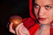 Little red ridding hood portrait, closeup