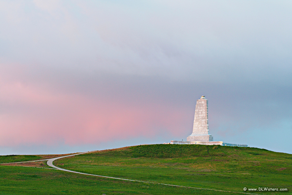 Wright Brothers Memorial at sunrise.