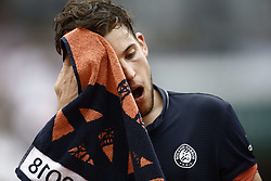 June 10, 2018 - Paris, Ile-de-France, France - Dominic Thiem of Austria reacts during the final of the men's singles at Roland Garros during the French Open on June 10, 2018 in Paris, France. (Credit Image: © Mehdi Taamallah/NurPhoto via ZUMA Press)