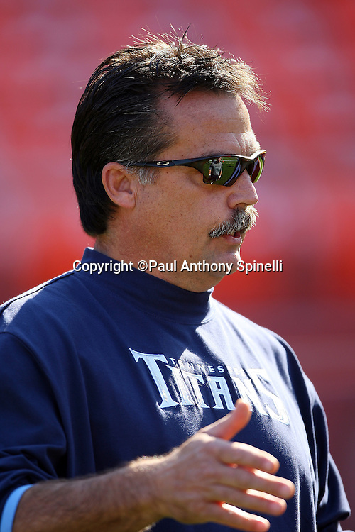 Tennessee Titans Head Coach Jeff Fisher talks on the field before the NFL football game against the San Francisco 49ers, November 8, 2009 in San Francisco, California. The Titans won the game 34-27. (©Paul Anthony Spinelli)