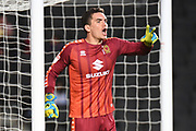Milton Keynes Dons goalkeeper Lee Nicholls (1) shouts instructions to his defenders during the EFL Sky Bet League 1 match between Milton Keynes Dons and Lincoln City at stadium:mk, Milton Keynes, England on 20 August 2019.