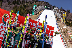 23.03.2019, Planica, Ratece, SLO, FIS Weltcup Ski Sprung, Skiflug, Teambewerb, Finale, Siegerehrung, im Bild 2. Platz Deutschland, Sieger Polen, 3. Platz Slowenien // 2nd placed Germany Winner Poland 3rd placed Slovenia during the winner ceremony for the team competition of the Ski Flying Hill individual competition of the FIS Ski Jumping World Cup Final 2019. Planica in Ratece, Slovenia on 2019/03/23. EXPA Pictures © 2019, PhotoCredit: EXPA/ JFK