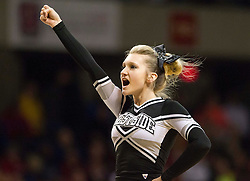 A Westside cheerleader performs during a semi-final game at the Charleston Civic Center.