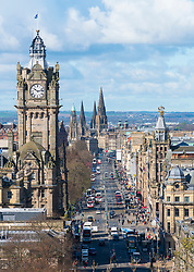 View along Princes Street from Calton Hill and skyline of Edinburgh, Scotland