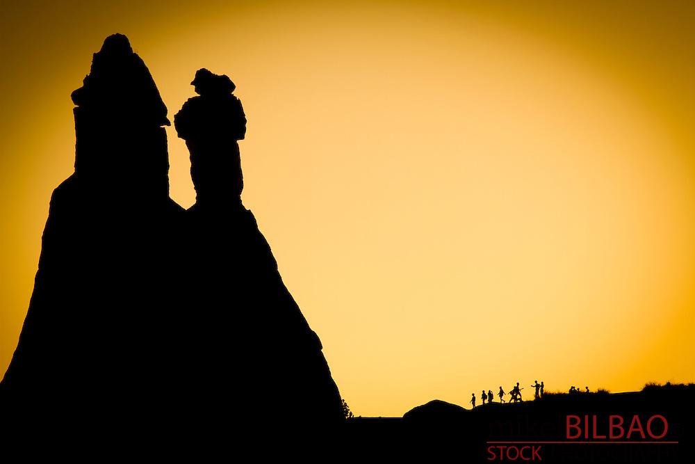 Fairy chimneys at sunset. Pasa Bagi. Cappadocia, Turkey.