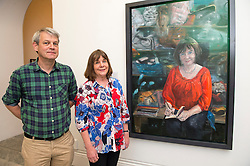 In the picture - Julia with illustrator Axel Scheffler and the portrait. National Portrait Gallery.<br /> Unveiling of portrait of Children's Laureate and writer Julia Donaldson sitting in her props cupboard by artist Peter Monkman. <br /> Monday 3rd, June 2013<br /> Picture by i-Images