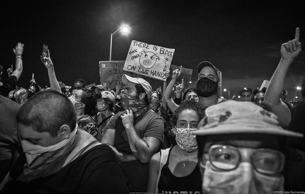 New Orleans on June 3, thousands of people  on the Crescent City Connection try to cross the bridge only to be teargassed by the police while taking part in a George Floyd solidarity protest