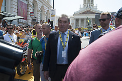 July 6, 2019 - Brussels, Brussels, Belgium - Former Belgian cyclist Eddy Merckxx (left) was the guest of honor at this edition, which is also the centenary of the yellow jersey. Among the personalities was also Prince Albert of Monaco. The Belgian capital and thousands of spectators welcome on July 6th and 7th the start of the 2019 edition of the Tour de France. (Credit Image: © Nicolas Landemard/Le Pictorium Agency via ZUMA Press)
