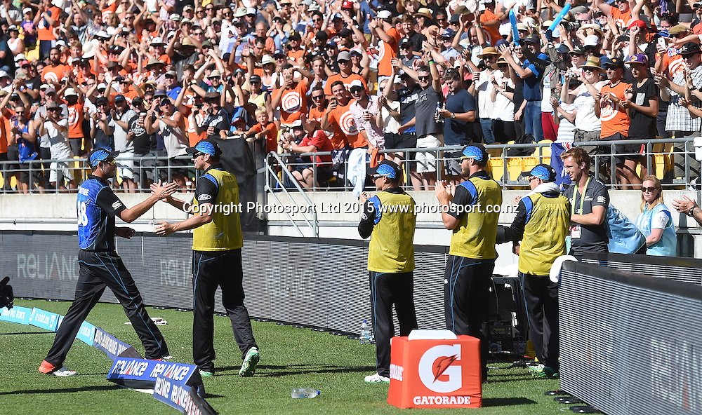 Tim Southee leaves the field after taking 7 wicket during the ICC Cricket World Cup match between New Zealand and England in Wellington, New Zealand. Friday 20 February 2015. Copyright Photo: Andrew Cornaga / www.Photosport.co.nz