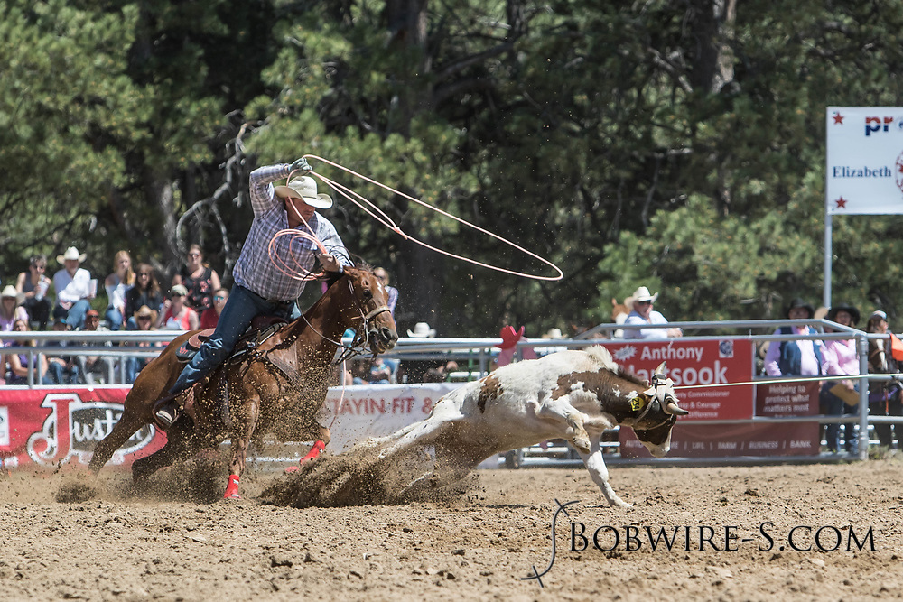 Heeler Josh Fillmore ropes the heels during his team roping run in the first performance of the Elizabeth Stampede on Saturday, June 2, 2018.