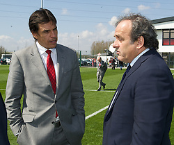 NEWPORT, WALES - Saturday, April 20, 2013: UEFA President Michel Platini with Wales manager Chris Coleman at the opening of the FAW National Development Centre in Newport. (Pic by David Rawcliffe/Propaganda)