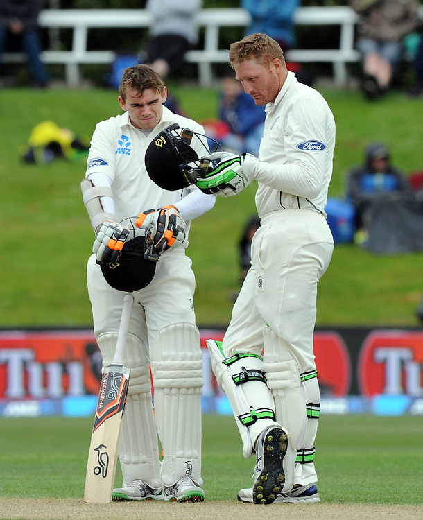 New Zealand's Tom Latham, left and Martin Guptill against Sri Lanka on day three of the first International Cricket Test, University Cricket Oval, Dunedin, New Zealand, Saturday, December 12, 2015. Credit:SNPA / Ross Setford