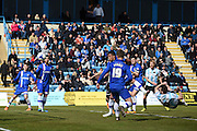 Shrewsbury Town forward Andrew Mangan with an overhead kick on goal scores (1-2) during the Sky Bet League 1 match between Gillingham and Shrewsbury Town at the MEMS Priestfield Stadium, Gillingham, England on 23 April 2016. Photo by Martin Cole.