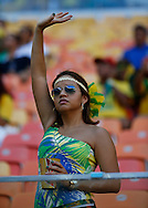 A fan in the crowd prior to the 2014 FIFA World Cup match at Arena da Amazonia, Manaus<br /> Picture by Andrew Tobin/Focus Images Ltd +44 7710 761829<br /> 14/06/2014