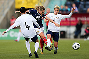 Erin Cuthbert (#22) of Scotland shoots and scores Scotland's second goal (2-1) during the FIFA Women's World Cup UEFA Qualifier match between Scotland Women and Belarus Women at Falkirk Stadium, Falkirk, Scotland on 7 June 2018. Picture by Craig Doyle.