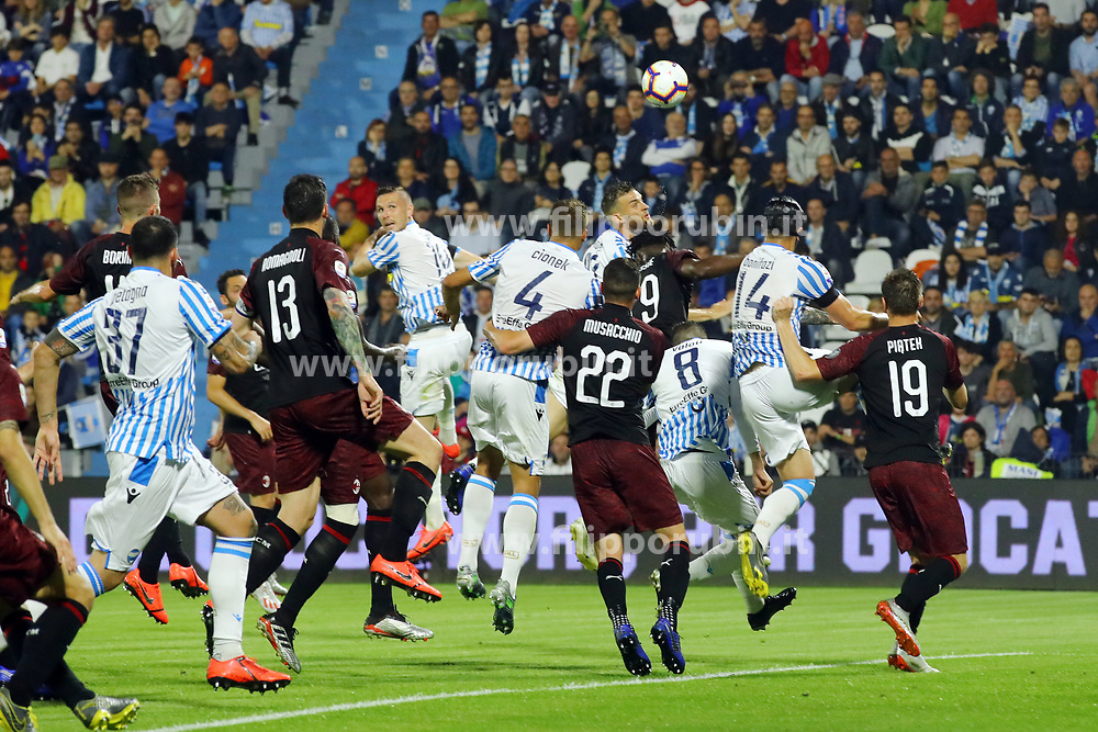 "Foto LaPresse/Filippo Rubin<br /> 26/05/2019 Ferrara (Italia)<br /> Sport Calcio<br /> Spal - Milan - Campionato di calcio Serie A 2018/2019 - Stadio ""Paolo Mazza""<br /> Nella foto: GOAL FRANCESCO VICARI (SPAL)<br /> <br /> Photo LaPresse/Filippo Rubin<br /> May 26, 2019 Ferrara (Italy)<br /> Sport Soccer<br /> Spal vs Milan - Italian Football Championship League A 2018/2019 - ""Paolo Mazza"" Stadium <br /> In the pic: GOAL FRANCESCO VICARI (SPAL)"
