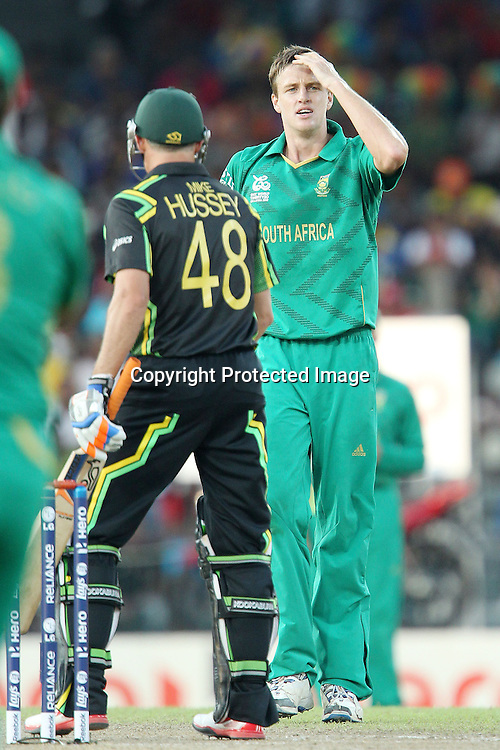 Mornel Morkel reacts after his appeal for the wicet of Michael Hussey is turned downduring the ICC World Twenty20 Super 8s match between Australia and South Africa held at the Premadasa Stadium in Colombo, Sri Lanka on the 30th September 2012<br /> <br /> Photo by Ron Gaunt/SPORTZPICS