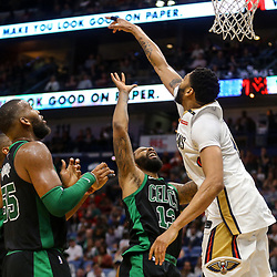 Mar 18, 2018; New Orleans, LA, USA; Boston Celtics forward Marcus Morris (13) shoots over New Orleans Pelicans forward Anthony Davis (23) during the second half at the Smoothie King Center. Mandatory Credit: Derick E. Hingle-USA TODAY Sports