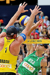 13.07.2014, Beach Village, Gstaad, SUI, FIVB Beach Volleyball Grand Slam Gstaad, im Bild Philip Dalhauser (USA) gegen Alison Cerutti (BRA) // during the FIVB Beach Volleyball Grand Slam Gstaad at the Beach Village in Gstaad, Switzerland on 2014/07/13. EXPA Pictures © 2014, PhotoCredit: EXPA/ Freshfocus/ Claude Diderich<br /> <br /> *****ATTENTION - for AUT, SLO, CRO, SRB, BIH, MAZ only*****