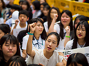 "SEOUL, SOUTH KOREA: Young South Korean women chant against the Japanese refusal to apologize for using Korean women as sex slaves during World War II. The Wednesday protests have been taking place since January 1992. Protesters want the Japanese government to apologize for the forced sexual enslavement of up to 400,000 Asian women during World War II. The women, euphemistically called ""Comfort Women"" were drawn from territories Japan conquered during the war and many came from Korea, which was a Japanese colony in the years before and during the war. The ""comfort women"" issue is still a source of anger of many people in northeast Asian areas like South Korea, Manchuria and some parts of China.    PHOTO BY JACK KURTZ   <br /> Wednesday Demonstration demanding Japan to redress the Comfort Women problems"