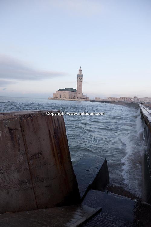 = Hassan II mosque on the corniche, casablanca morocco +
