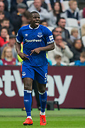 Kurt Zouma (Everton) following his goal giving Everton the lead in the first half during the Premier League match between West Ham United and Everton at the London Stadium, London, England on 30 March 2019.