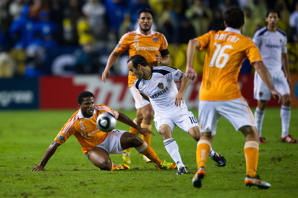 Athletes fight for a the ball during the MLS Cup at the Home Depot Center in Los Angeles, Calif., on November 20, 2011. Los Angeles Galaxy defeated Huston Dynamos 1-0 in the Championship game....©Benjamin B Morris