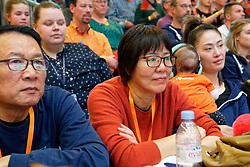 """10–01-2020 NED: Olympic qualification tournament women Netherlands - Poland, Apeldoorn<br /> The Dutch volleyball players lost the third group match of the OKT in Apeldoorn 3-1 against Poland / Coach """"Jenny"""" Lang Ping of China"""